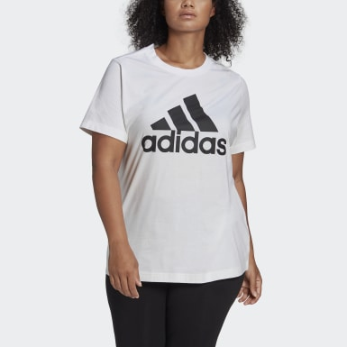 Dames Athletics Wit Must Haves Badge of Sport T-shirt (Grote Maat)