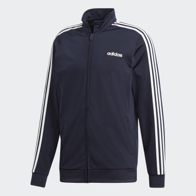 Men Training Blue Essentials 3-Stripes Tricot Track Top