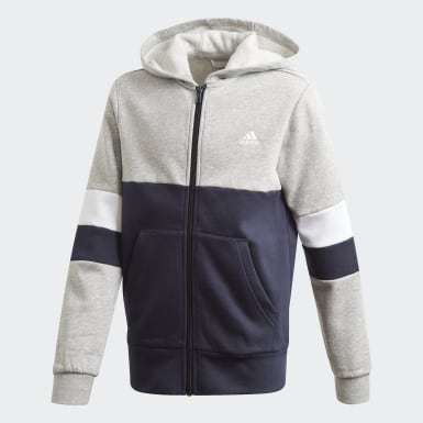 Boys Lifestyle Grey Linear Colorblock Full-Zip Hoodie