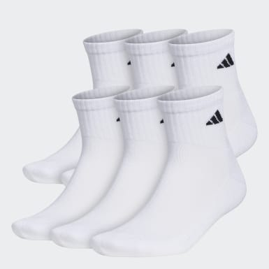 Men's Basketball White Quarter Socks 6 Pairs