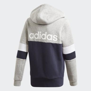 Boys Lifestyle Grey Linear Colorblock Full-Zip Hoodie