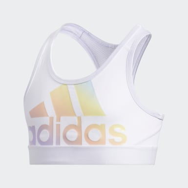 Youth Yoga White Iridescence Logo Bra