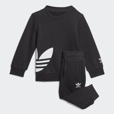 Kids Originals Black Big Trefoil Crew Set