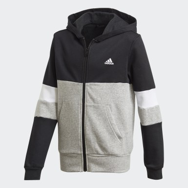 Boys Lifestyle Black Linear Colorblock Full-Zip Hoodie