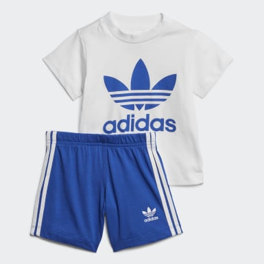 Infants Originals White Trefoil Shorts Tee Set