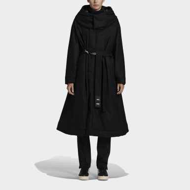 Women Y-3 Black Y-3 CH3 Flannel Hooded Coat