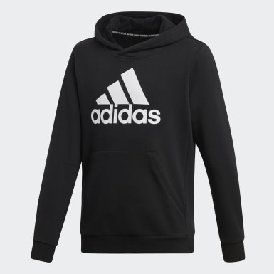Sweat-shirt à capuche Must Haves Badge of Sport noir Adolescents Essentials