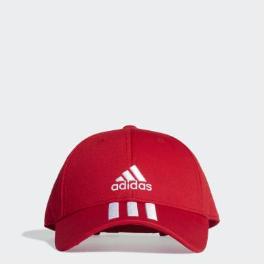 Tennis Baseball 3-Streifen Twill Kappe Rot