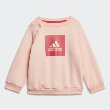 Dievčatá Tréning ružová Súprava 3-Stripes Fleece Jogger