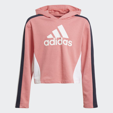Girls Training Pink Colorblock Crop Top Track Suit