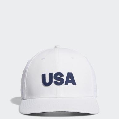 Men's Golf White A-Stretch USA Tour Hat