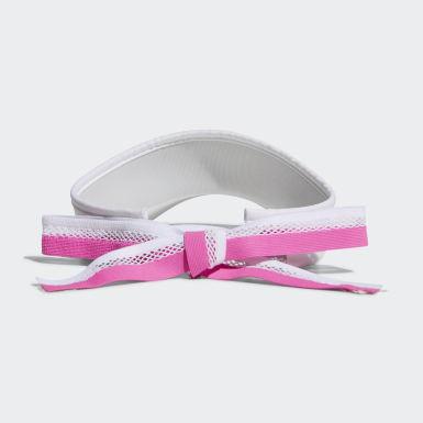Women Golf White Ribbon Visor