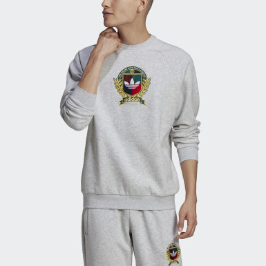 Men Originals Grey Collegiate Crest Crew Sweatshirt