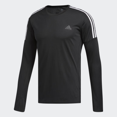 Heren Hardlopen Zwart Running 3-Stripes T-shirt