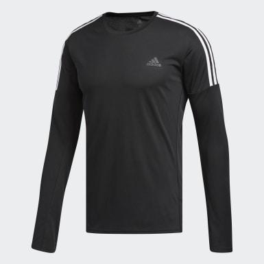 Muži Běh černá Tričko Running 3-Stripes