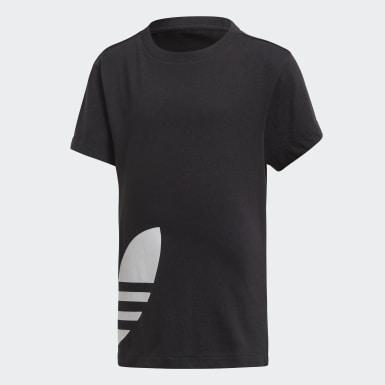 Kinderen Originals zwart Big Trefoil Short en T-shirt Set