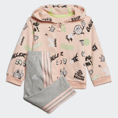 Kids Training Pink French Terry Graphic Tracksuit