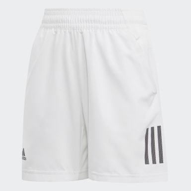 Youth Tennis White 3-Stripes Club Shorts