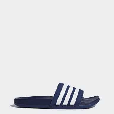 Claquette Adilette Cloudfoam Plus Stripes Bleu Training