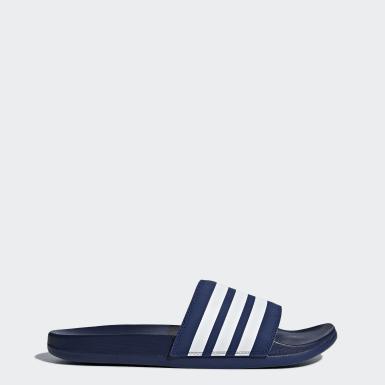 Trénink modrá Pantofle Adilette Cloudfoam Plus Stripes