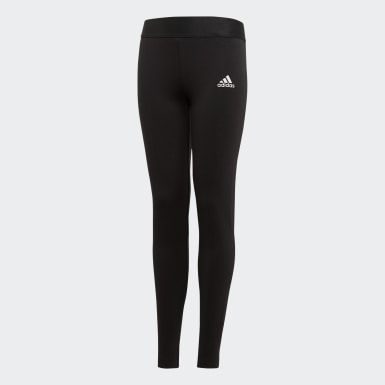 Girls Yoga Black Must Haves 3-Stripes Tights