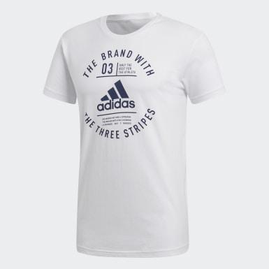 Men Athletics White Emblem Tee