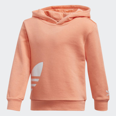 Children Originals Orange Big Trefoil Hoodie Set