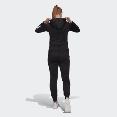 Tuta Essentials Logo French Terry Nero Donna Athletics