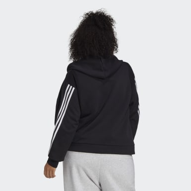 Women Athletics Black adidas Sportswear Wrapped 3-Stripes Full-Zip Hoodie (Plus Size)