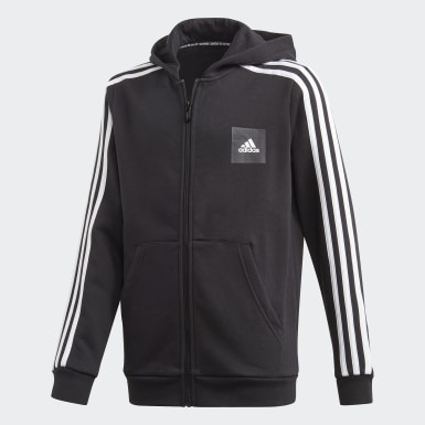 Boys Träning Svart Must Haves 3-Stripes Hoodie