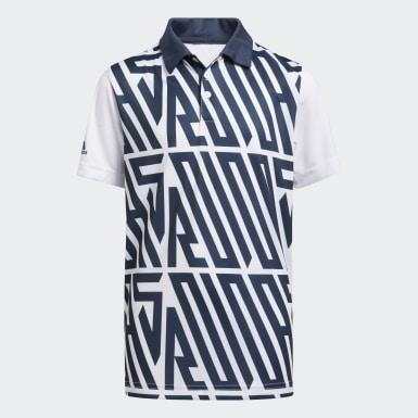 Boys Golf Blue Printed Polo Shirt