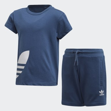Children Originals Blue Big Trefoil Shorts Tee Set