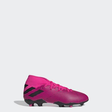 Zapatos de Fútbol Nemeziz 19.3 Terreno Firme Rosado Niño Fútbol