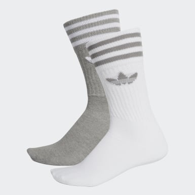 Originals Grey Solid Crew Socks 2 Pairs