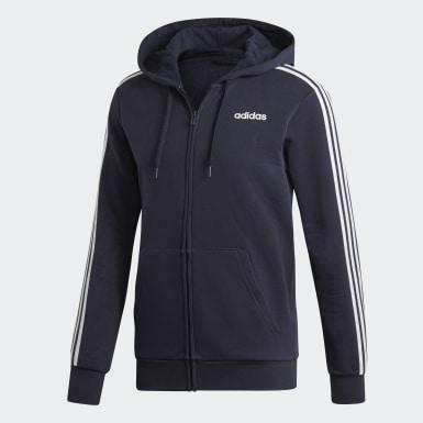 Männer Athletics Essentials 3-Streifen Fleece Kapuzenjacke Blau