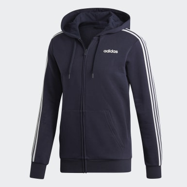 Heren Athletics Blauw Essentials 3-Stripes Fleece Hoodie
