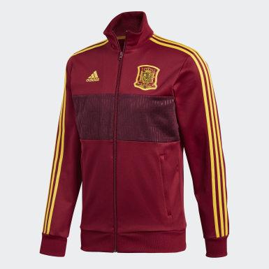 Men Football Burgundy Spain 3-Stripes Track Jacket