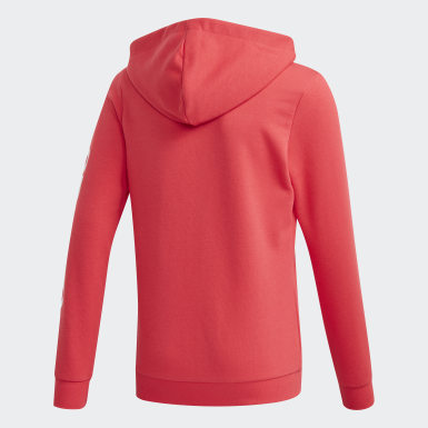 Girls Athletics Pink Linear hættetrøje
