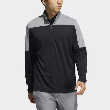 Men's Golf Black Lightweight UV Quarter-Zip Sweatshirt
