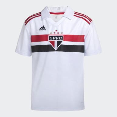 Camisa Sao Paulo I Infantil Branco Meninos Futebol