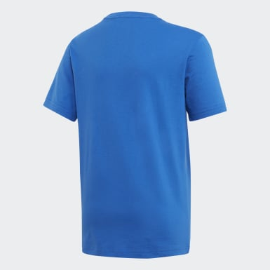 Camiseta Logo Essentials Linear Azul Meninos Training