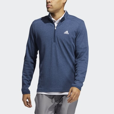 Men Golf Blue 3-Stripes Quarter-Zip Pullover