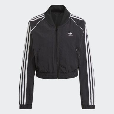 Women Originals Black Adicolor Classics Cropped Fashion Track Jacket