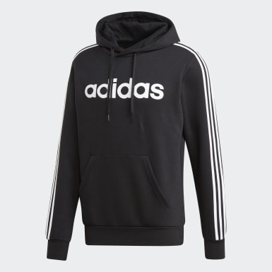 Men Lifestyle Black Essentials 3-Stripes Pullover Hoodie