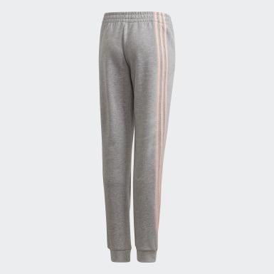 Mädchen Training 3-Streifen Tapered Leg Hose Grau
