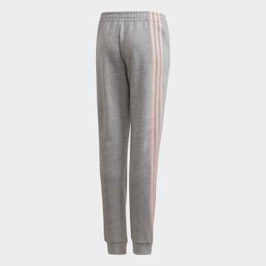 Girls Training Grey 3-Stripes Tapered Leg Pants