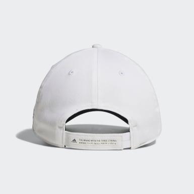 ผู้ชาย กอล์ฟ สีขาว หมวกแก๊ปผ้าทวิล