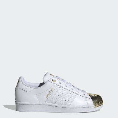 Women Originals White Superstar Metal Toe Shoes