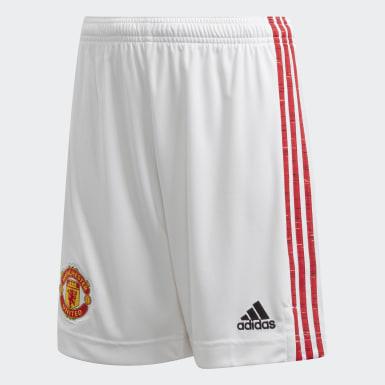 Calções Principais 20/21 do Manchester United Branco Criança Futebol