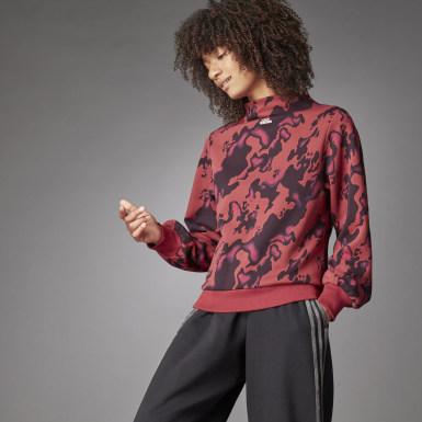 Mock Crew Allover Print Sweatshirt Czerwony